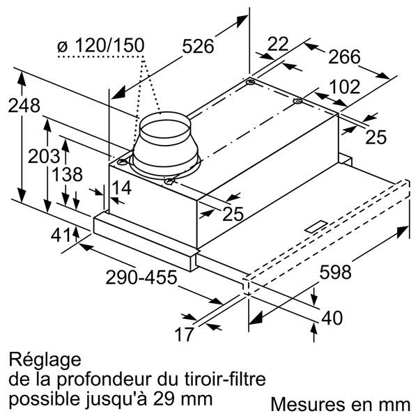 hotte tiroir bosch dfm064w52 au meilleur prix sur electro10count. Black Bedroom Furniture Sets. Home Design Ideas